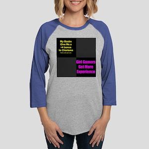 Boobs=Charisma  Girl Gamer xp  Womens Baseball Tee