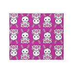 Kawaii Pink Bunny Pattern Throw Blanket