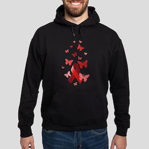 Red Awareness Ribbon Hoodie (dark)