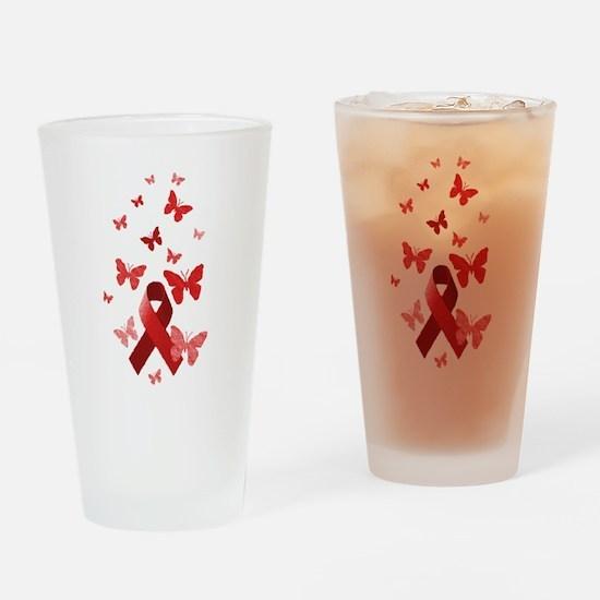 Red Awareness Ribbon Drinking Glass