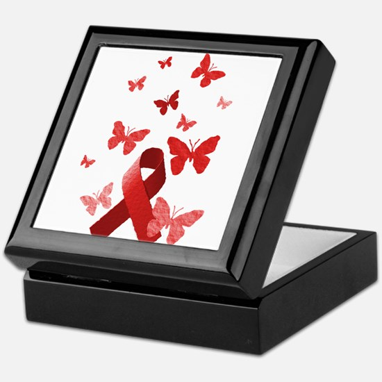 Red Awareness Ribbon Keepsake Box