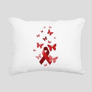 Red Awareness Ribbon Rectangular Canvas Pillow