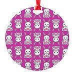 Kawaii Pink Bunny Pattern Round Ornament