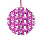 Kawaii Pink Bunny Pattern Ornament (Round)