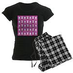 Kawaii Pink Bunny Pattern Women's Dark Pajamas