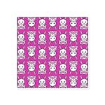 Kawaii Pink Bunny Pattern Square Sticker 3