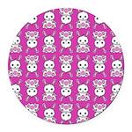 Kawaii Pink Bunny Pattern Round Car Magnet