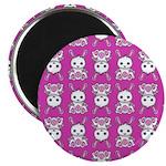 Kawaii Pink Bunny Pattern Magnet