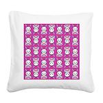 Kawaii Pink Bunny Pattern Square Canvas Pillow