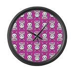 Kawaii Pink Bunny Pattern Large Wall Clock