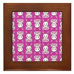 Kawaii Pink Bunny Pattern Framed Tile