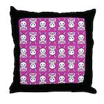 Kawaii Pink Bunny Pattern Throw Pillow