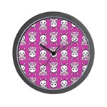 Kawaii Pink Bunny Pattern Wall Clock
