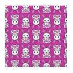 Kawaii Pink Bunny Pattern Tile Coaster