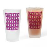 Kawaii Pink Bunny Pattern Drinking Glass