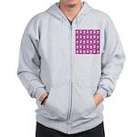 Kawaii Pink Bunny Pattern Zip Hoodie