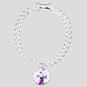 Purple Awareness Ribbon Charm Bracelet One