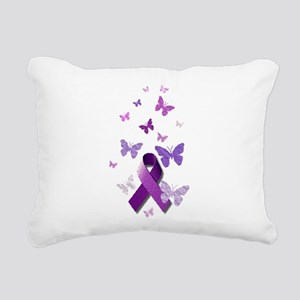 Purple Awareness Ribbon Rectangular Canvas Pillow