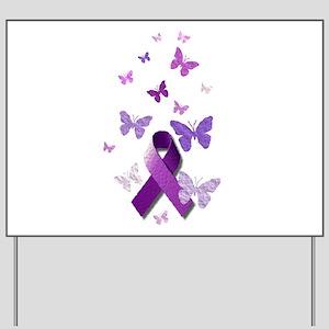 Purple Awareness Ribbon Yard Sign