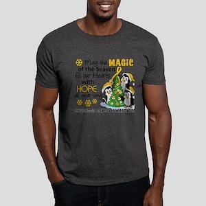 Holiday Penguins Childhood Cancer Dark T-Shirt