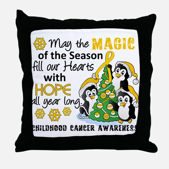 Holiday Penguins Childhood Cancer Throw Pillow