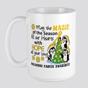 Holiday Penguins Childhood Cancer Large Mug