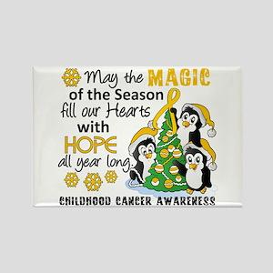 Holiday Penguins Childhood Cancer Rectangle Magnet