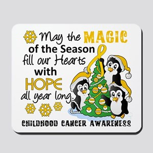 Holiday Penguins Childhood Cancer Mousepad
