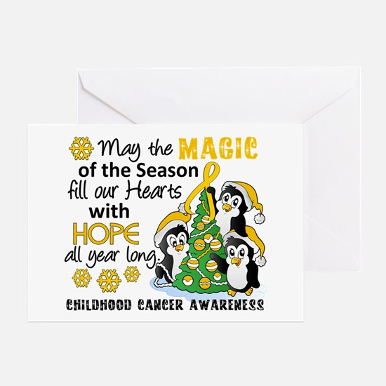 Holiday Penguins Childhood Cancer Greeting Card