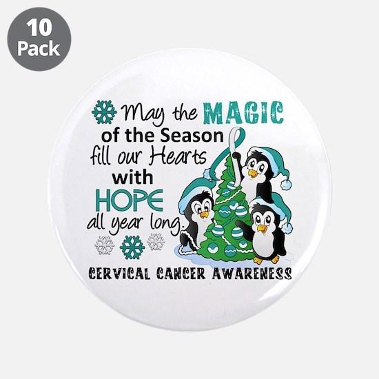 "Holiday Penguins Cervical Cancer 3.5"" Button (10 p"