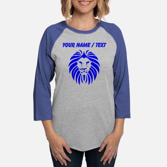 Custom Blue Lion Mane Womens Baseball Tee