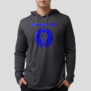 Custom Blue Lion Mane Mens Hooded Shirt