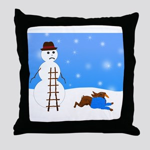 Snowman and Naughty Bunny Throw Pillow