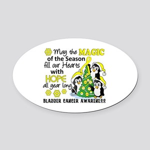 Holiday Penguins Bladder Cancer Oval Car Magnet