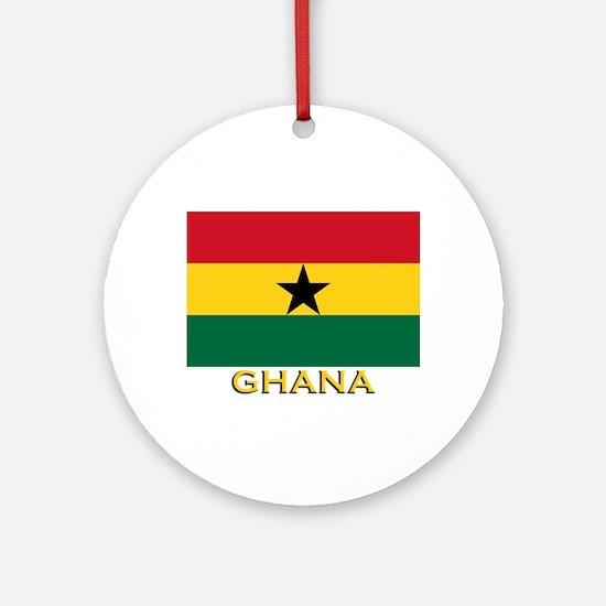Ghana Flag Gear Ornament (Round)