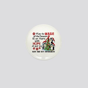 Holiday Penguins AIDS and HIV Mini Button