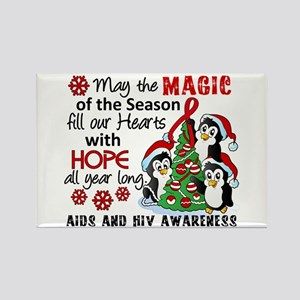 Holiday Penguins AIDS and HIV Rectangle Magnet