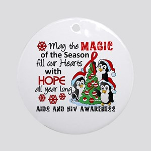 Holiday Penguins AIDS and HIV Ornament (Round)