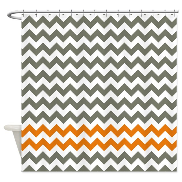 orange chevron shower curtain.  Gray And Orange Chevron Stripes Shower Curtain By LittleBugDesigns