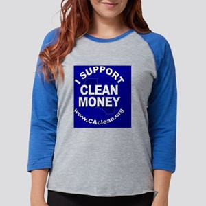 Button_Support2Blue Womens Baseball Tee