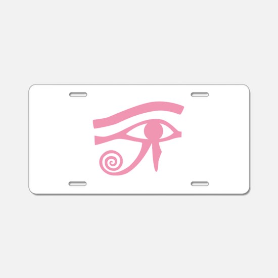 Pink Eye of Horus Hieroglyphic Aluminum License Pl