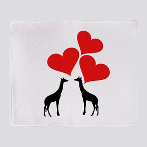 Hearts & Giraffes Throw Blanket