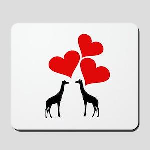 Hearts & Giraffes Mousepad