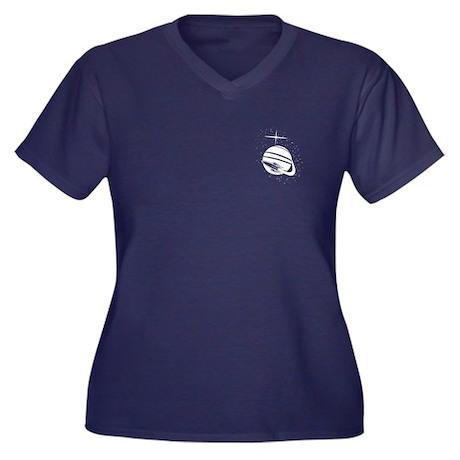 Rocket Shp Women's Plus Size V-Neck Dark T-Shirt