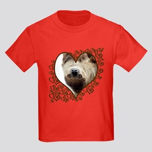 Sloth Swirling Hearts Kids Dark T-Shirt