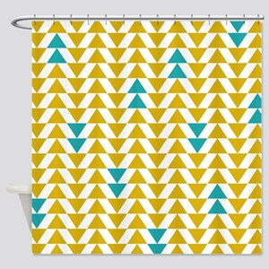teal and yellow shower curtain. Yellow and Turquoise Triangles Shower Curtain Teal And Mustard Curtains  CafePress