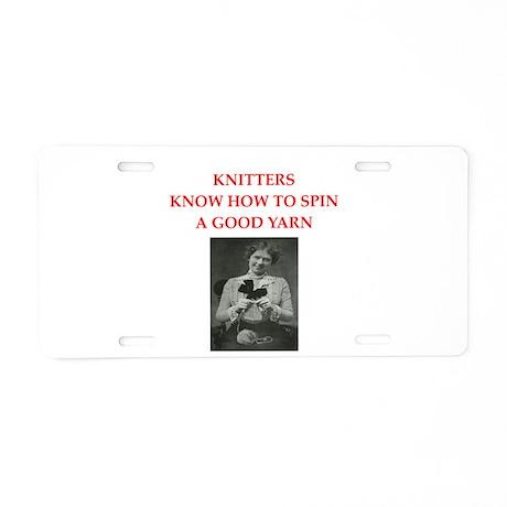 knitters Aluminum License Plate