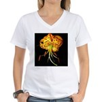 Tiger Lily and Red Mushroom Women's V-Neck T-Shirt