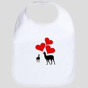 Hearts & Llamas Baby Bib