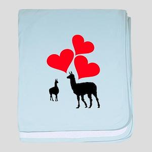 Hearts & Llamas baby blanket